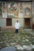 The famous folklore singer Ivanka Ivanova Pitrek in front of the church